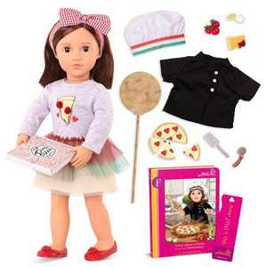 "Our Generation Posable 18"" Pizza Chef Doll with Storybook - Francesca"