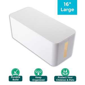 """Insten 16"""" Cable Management Box, Power Strip Cord Surge Protector Cover Organizer For Home Office Desk Floor, White"""
