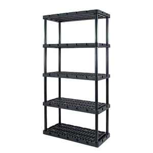 Gracious Living 91086-1C 18x36x72 Inch Knect A Shelf Fixed Height Heavy Duty Interlocking Ventilated Home, Garage Storage 5 Tier Shelving Unit, Black