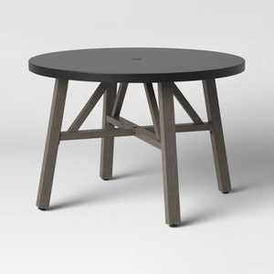 Faux Wood 4 Person Round Patio Dining Table with Faux Concrete Tabletop - Smith & Hawken™