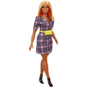 Barbie Fashionistas Doll #161, Curvy with Orange Hair Wearing Pink Plaid Dress