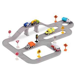 DRIVEN – Track Playset with Toy Trucks – Safe & Clean City Crew (57pc) – Pocket Series