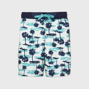 Boys' Palm Tree Print Swim Trunks - Cat & Jack White