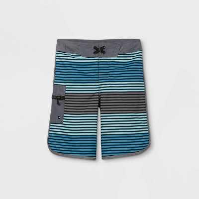 Boys' Horizontal Stripe Swim Trunks - art class Blue/Gray
