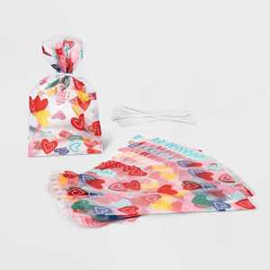 20ct Cellophane Heart Print Treat Bags - Spritz™