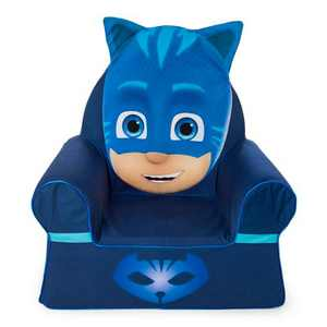 Marshmallow Furniture Comfy Foam Toddler Chair Kid's Furniture for Ages 2 Years Old and Up, PJ Masks Catboy, Blue