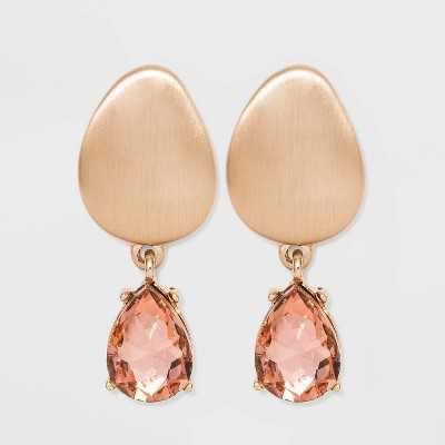 Post Drop Glass Gem Brushed Statement and Stud Earrings - A New Day