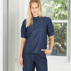 Women's Button Detail Puff 3/4 Sleeve Denim Blouse - Who What Wear