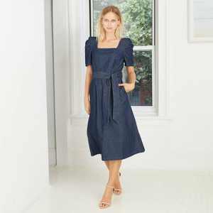 Women's Puff Short Sleeve Belted Denim Dress - Who What Wear