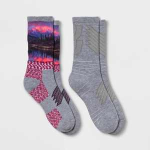 Women's Midweight Cushioned Scenic Print 2pk Crew Socks - All in Motion™ Heather Gray/Purple/Pink 4-10