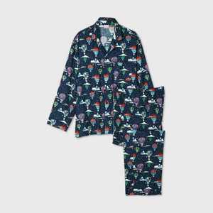 Men's Big & Tall Holiday Hot Air Balloon Print Flannel Matching Family Pajama Set - Wondershop Navy