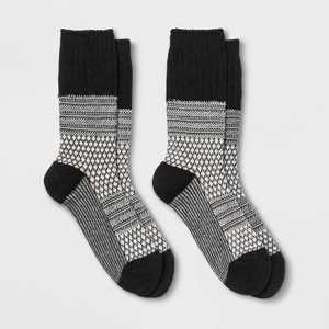 Women's Midweight Textured Cable Wool Blend 2pk Crew Socks - All in Motion™ Black/Gray 4-10