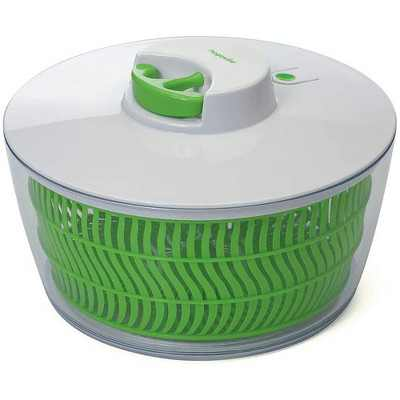 Prep Solutions Versatile 4 Quart Self Retracting Pull Cord Home Salad Spinner with Removable Bowl and Basket, Green