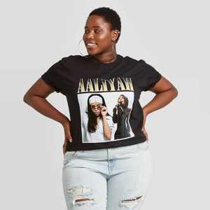 Women's Aaliyah Boyfriend Short Sleeve Graphic T-Shirt - Black