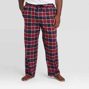 Men's Big & Tall Plaid Flannel Pajama Pants - Goodfellow & Co Navy/Red