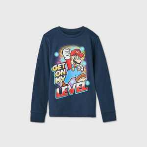 Boys' Nintendo Mario 'Get On My Level' T-Shirt - Blue