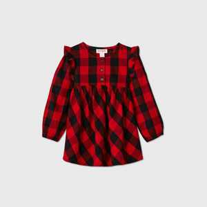 Toddler Girls' Plaid Long Sleeve Blouse - Cat & Jack Black/Red