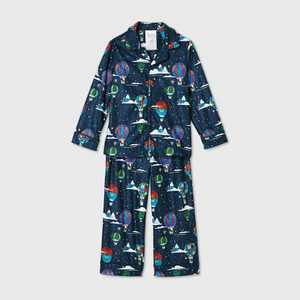 Toddler Holiday Hot Air Balloon Print Flannel Matching Family Pajama Set - Wondershop Navy