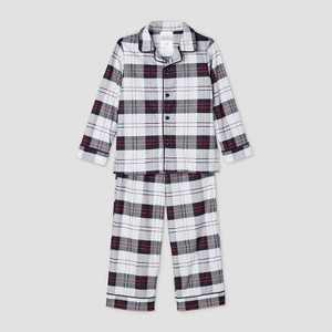 Toddler Holiday Plaid Flannel Matching Family Pajama Set - Wondershop White