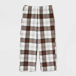 Toddler Holiday Plaid Fleece Matching Family Pajama Pants - Wondershop White