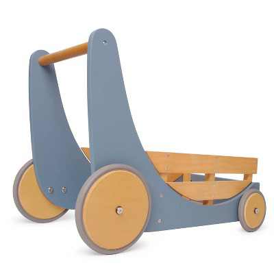 Kinderfeets 2-in-1 Wooden Cargo Push Walker Wagon for Children and Toddlers with Rubber Wheels, Blue