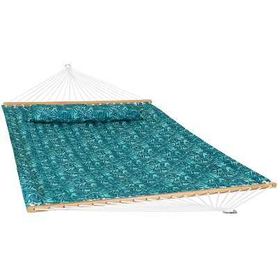2-Person Quilted Printed Fabric Spreader Bar Hammock and Pillow - Cool Blue Tropics - Sunnydaze Decor