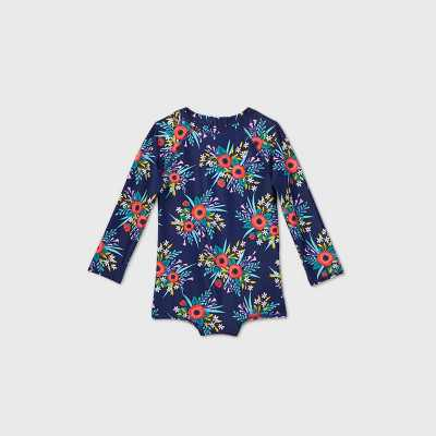 Toddler Girls' Floral Long Sleeve One Piece Swimsuit - Cat & Jack Navy