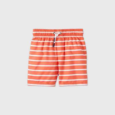 Toddler Boys' Striped Swim Trunks - Cat & Jack Orange/White