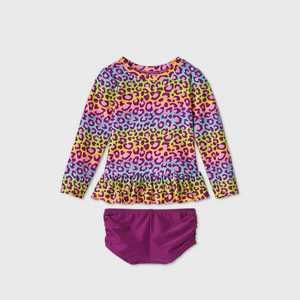 Toddler Girls' 2pc Rainbow Leopard Print Long Sleeve Rash Guard Set - Cat & Jack Purple