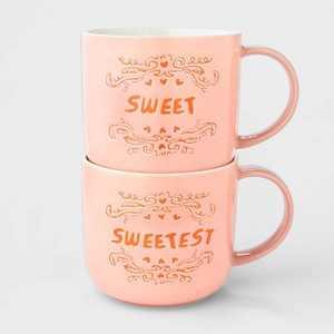 15oz 2pk Stoneware Sweet and Sweetest Mugs - Opalhouse™
