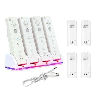 4 Port Charging Station with 4 Rechargeable Battery compatible with Nintendo Wii / Wii U Remote Control - White