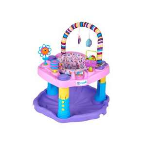 Evenflo ExerSaucer Sweet Tea Baby Bouncer Bouncing Jumping Seat Walker Play Activity Center, Pink