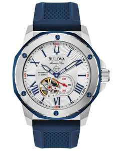 Men's Automatic Marine Star Blue Silicone Strap Watch 45mm