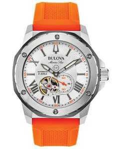 Men's Automatic Marine Star Orange Silicone Strap Watch 45mm