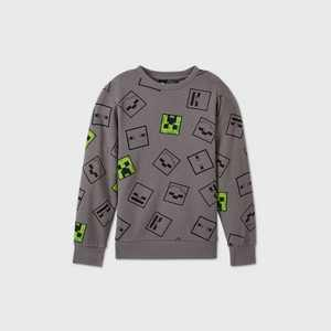 Boys' Minecraft Fleece Sweatshirt - Gray