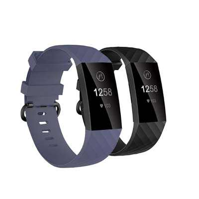 Insten 2-Pack Soft TPU Rubber Replacement Band For Fitbit Charge 4 & Charge 3, Black+Gray