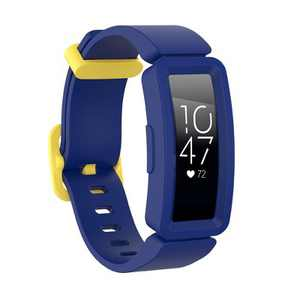Insten Soft Silicone Replacement Band For Fitbit Inspire HR & Inspire / Inspire 2 & Ace 2, Blue/Yellow Clip