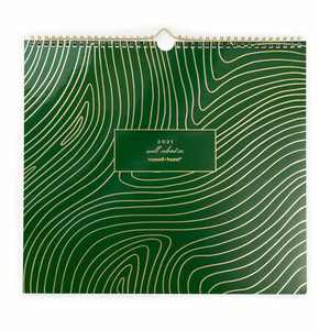"""2021 Wall Calendar Monthly 13"""" x 12"""" Green - russell+hazel"""