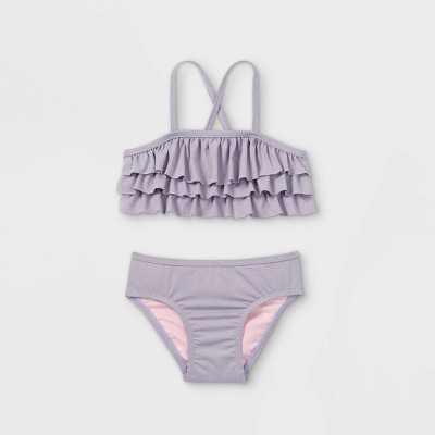 Toddler Girls' 2pc Ruffle Bikini Set - Cat & Jack Purple