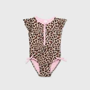 Toddler Girls' Leopard Print Zip-Front Flutter Sleeve One Piece Swimsuit - Cat & Jack Brown