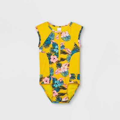 Toddler Girls' Floral Zip-Front One Piece Swimsuit - Cat & Jack Yellow