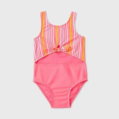 Toddler Girls' Striped Peek A Boo Tie-Front One Piece Swimsuit - Cat & Jack Pink