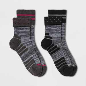 Women's Midweight Cushioned All Purpose Wool Blend 2pk Convertible Crew Socks - All in Motion 4-10