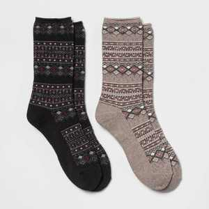 Women's Heavyweight Cushioned Fairisle 2pk Crew Socks - All in Motion 4-10