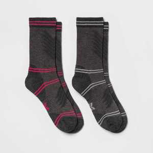 Women's Midweight Cushioned Fine Ribbed Wool Blend 2pk Crew Socks - All in Motion 4-10