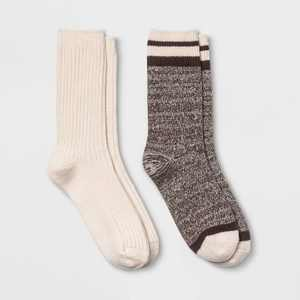 Women's Lightweight Marled Striped & Textured Super Soft 2pk Crew Socks - All in Motion 4-10
