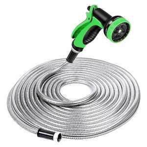 Specilite Heavy Duty 100 Foot Stainless Steel Metal Outdoor 10 Spray Pattern Nozzle Sprayer Garden Watering Hose, Green