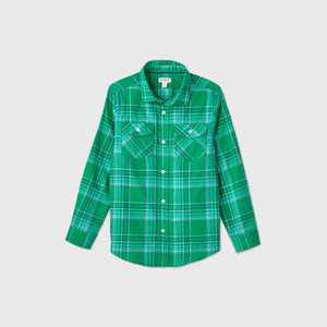 Boys' Plaid Long Sleeve Button-Down Shirt - Cat & Jack Green/Yellow