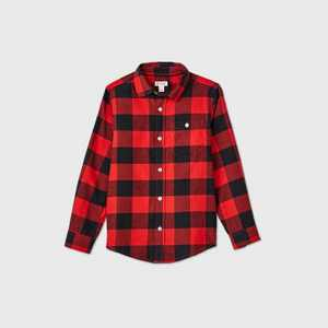 Boys' Buffalo Check Long Sleeve Button-Down Shirt - Cat & Jack Red/Black