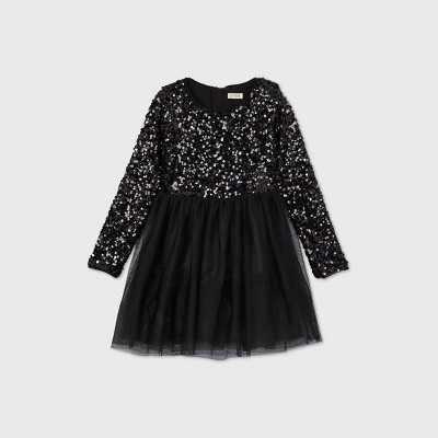 Girls' Long Sleeve Sequin Tulle Dress - Cat & Jack Black